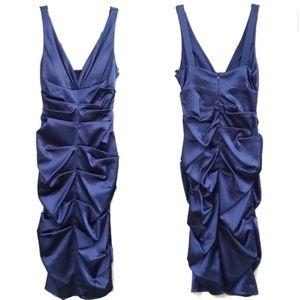 CACHÉ BEBE BLUE NAVY SILKY RUFFLE MID PROM DRESS